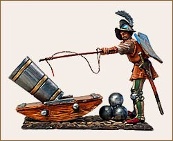 Military and historical miniatures - The gunner with mortar