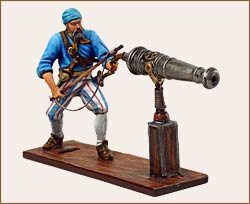 Military and historical miniatures - The pirate shooting from a gun